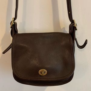 Auth Vintage Coach Leather Crossbody Bag, S(T11)